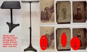 types of Brady stands, used to help photographic subjects stand still for the length of time required