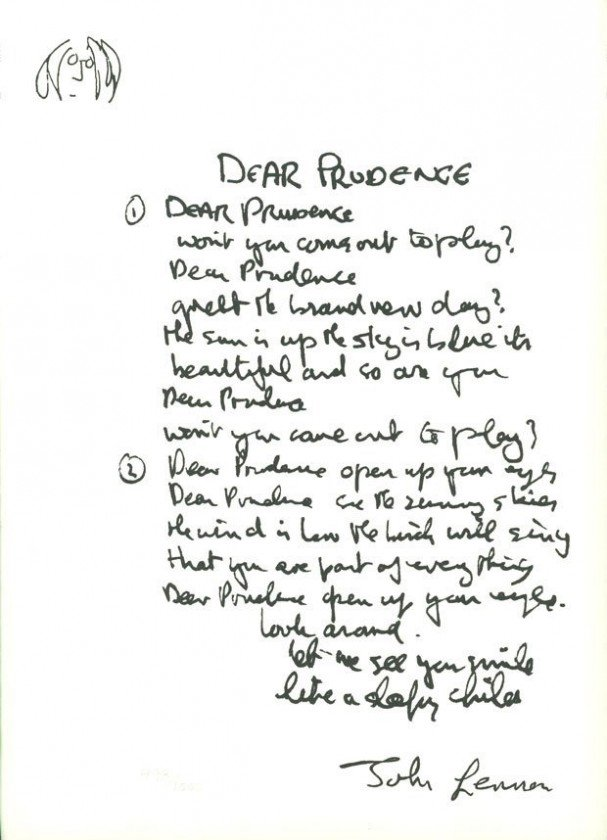 Dear Prudence written by John Lennon